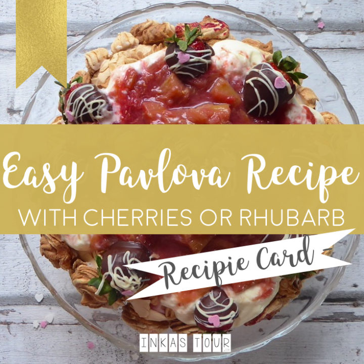Easy Pavlova Recipe with Rhubarb or Cherries