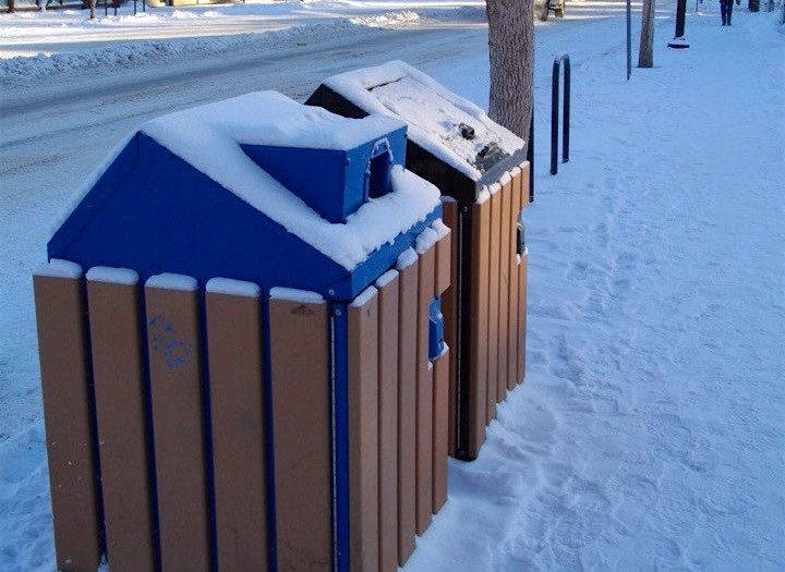15 Garbage Cans in Winter